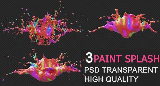 Colorful paint splash rendering isolated design