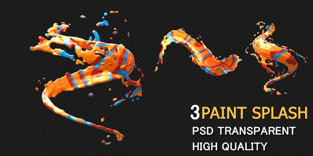 Colorful paint splash rendering isolated