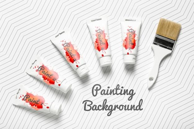 カラフルな絵画コンセプトモックアップ