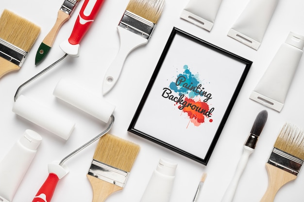 Colorful painting concept mock-up