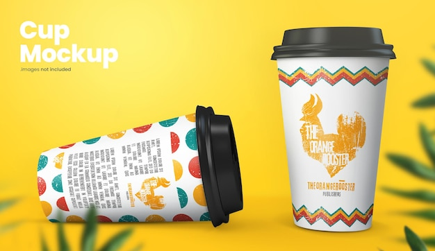 Colorful paper cup mockup design rendering