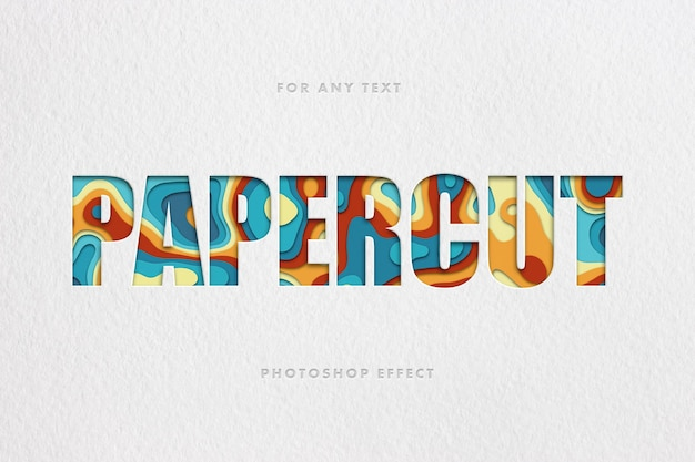 Colorful papercut text effect template