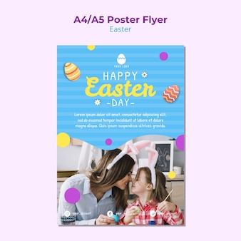 Colorful poster template for easter