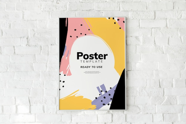 Colorful poster template on a white brick wall