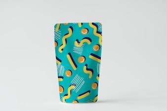 カラフルな製品包装袋モックアップ