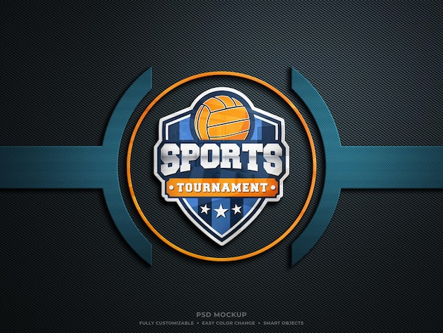 Colorful reflective glass logo mockup on hard rough carbon fibre fabric esports logo mockup
