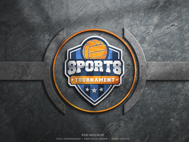 Colorful reflective glass logo mockup on rough dusty concrete wall esports logo mockup