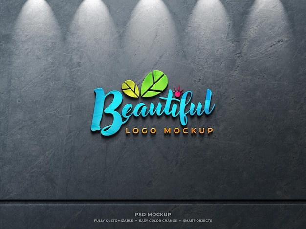 Colorful reflective glass logo mockup on rough dusty concrete wall