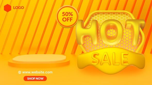 다채로운 판매 할인 판촉 배너 3d 렌더링
