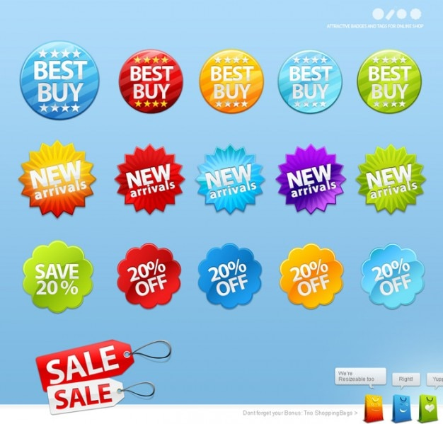 Colorful sales and shopping stickers