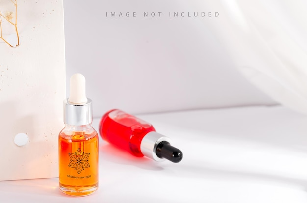 Colorful serum essence in glass mockup bottle