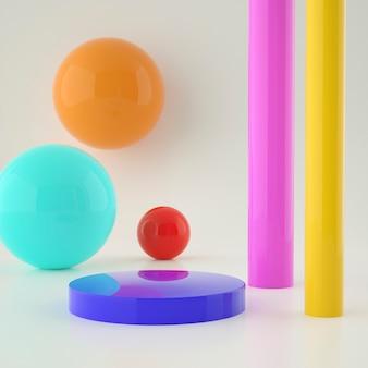 カラフルな背景と編集可能な色の製品配置のためのホログラフィック3d幾何学的なステージを設定