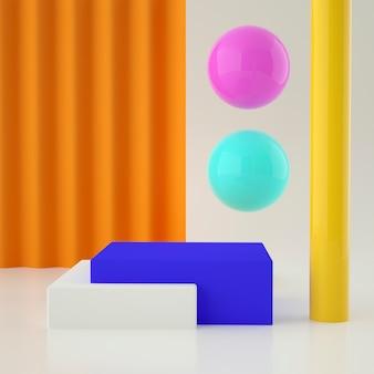 배경과 편집 가능한 색상으로 제품 배치를위한 다채로운 세트 홀로그램 3d 기하학적 무대