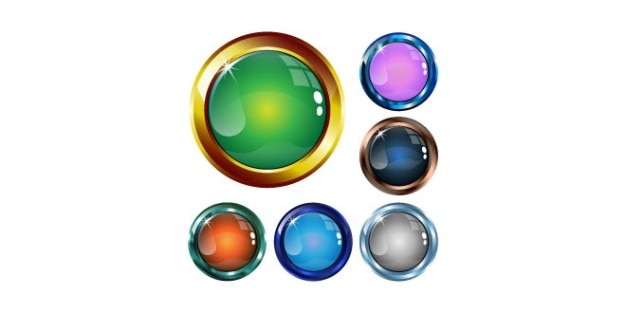Colorful shiny buttons psd