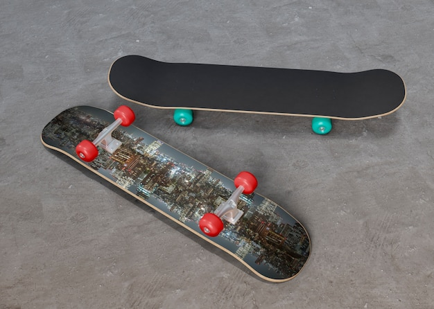 Colorful skateboards on the floor
