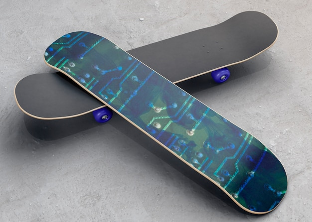 Colorful skateboards with mock-up on the floor