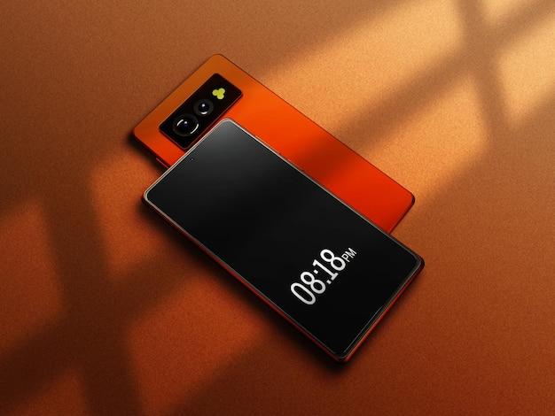 カラフルなスマートフォンのモックアップ