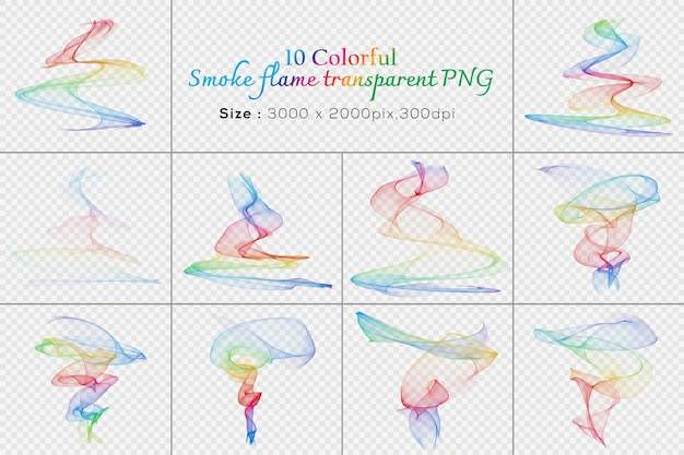 Colorful smoke flame transparent collection