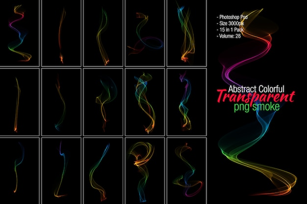 Colorful smoke transparent background