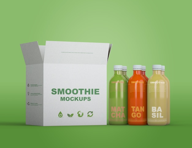 Colorful smoothie packaging mock-up