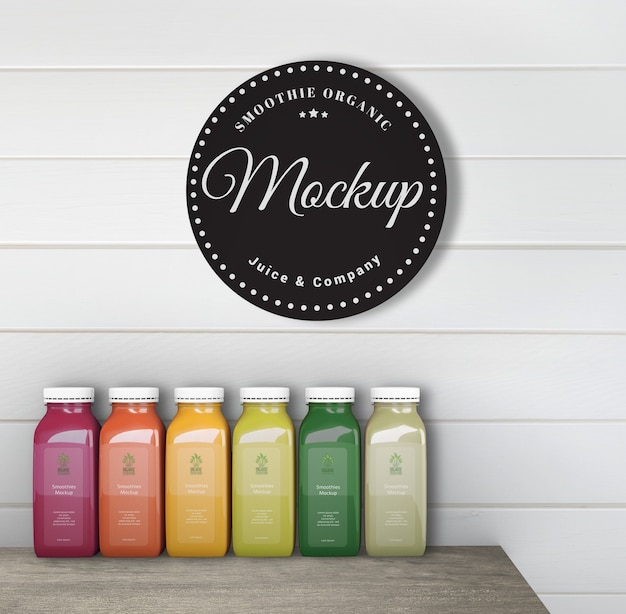 Colorful smoothies on table mock-up