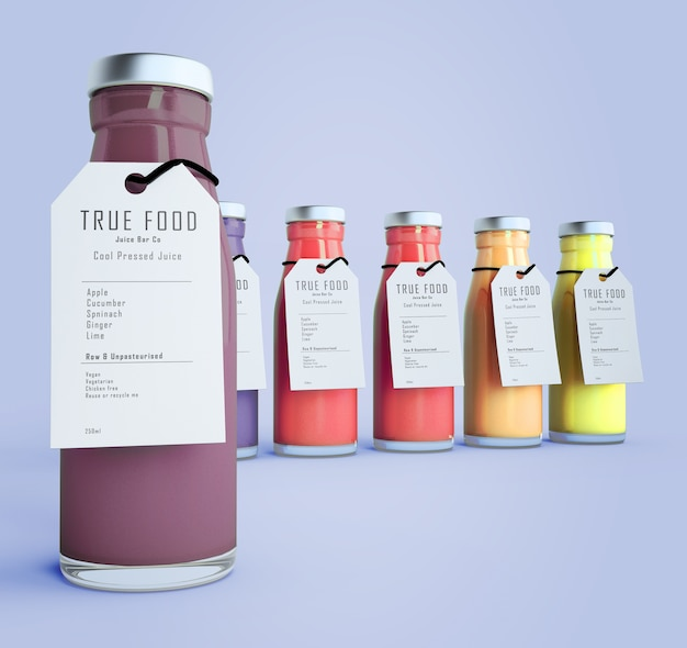 Colorful smoothies with labels on mock-up