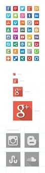 Colorful social media flat icons