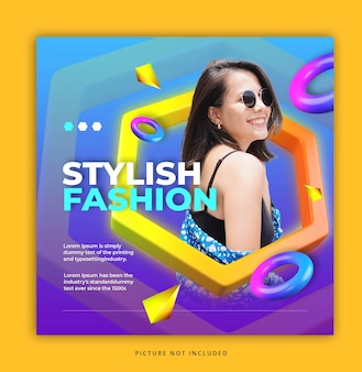 Colorful social media instagram template