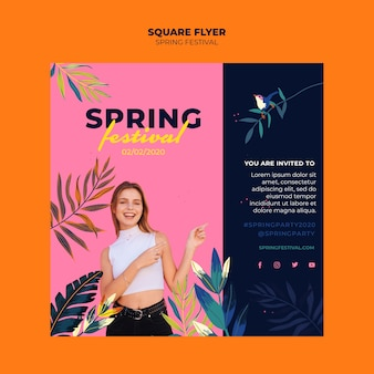 Colorful spring festival square flyer