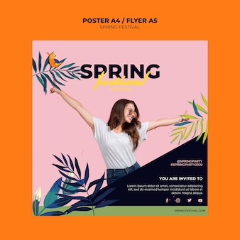 Colorful spring flyer template