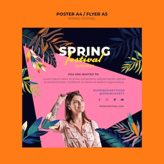 Colorful spring poster template