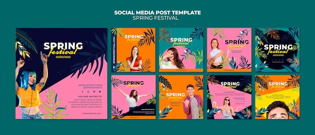 Colorful spring social media post collection