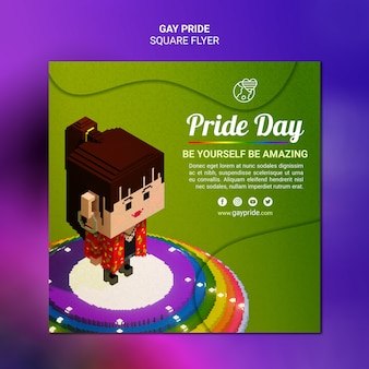 Colorful square flyergay pride template