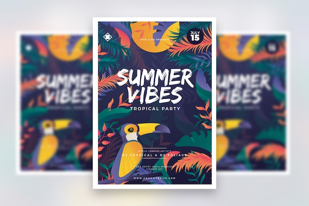 Colorful summer festival flyer template