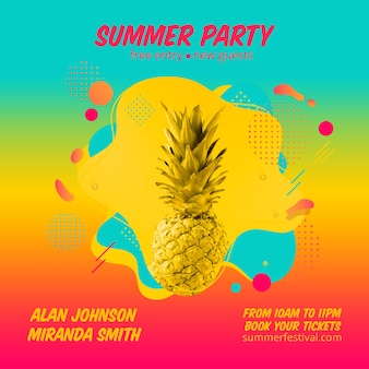 Colorful summer party square post template