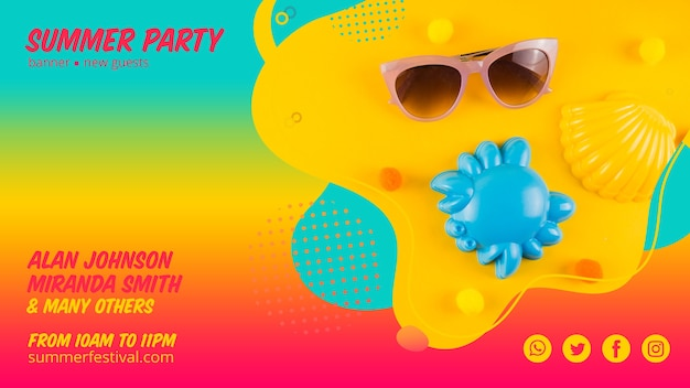 Colorful summer party web banner template