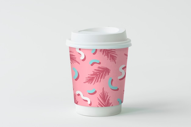 Colorful takeaway coffee cup mockup design