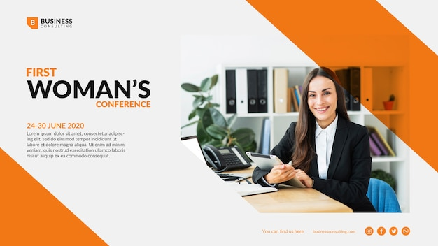Colorful template for business woman