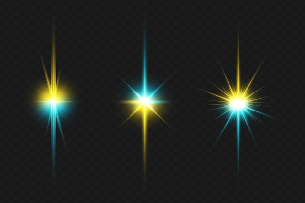 Colorful transparent lens flares lights collection for christmas