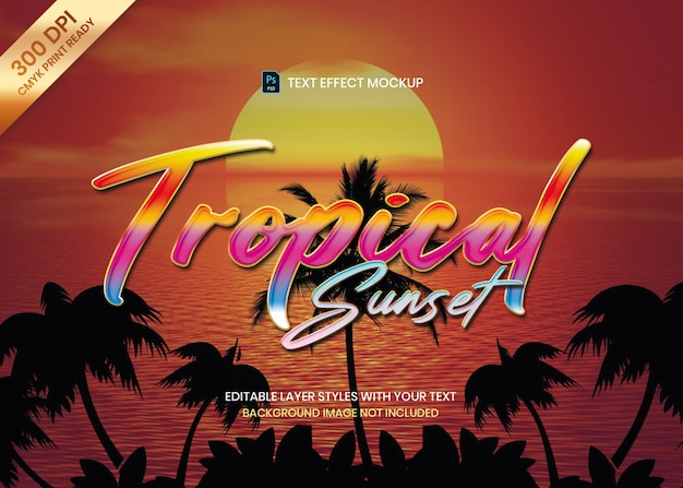 Colorful tropical style logo text effect psd template.