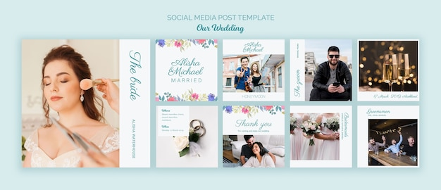 Colorful wedding concept social media template