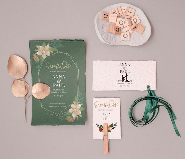 Colorful wedding invitation with flat lay