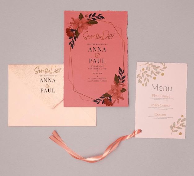 Colorful wedding invitation with menu