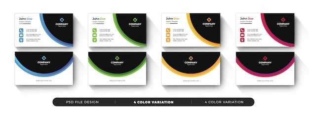 Colorfull business card template with color variation