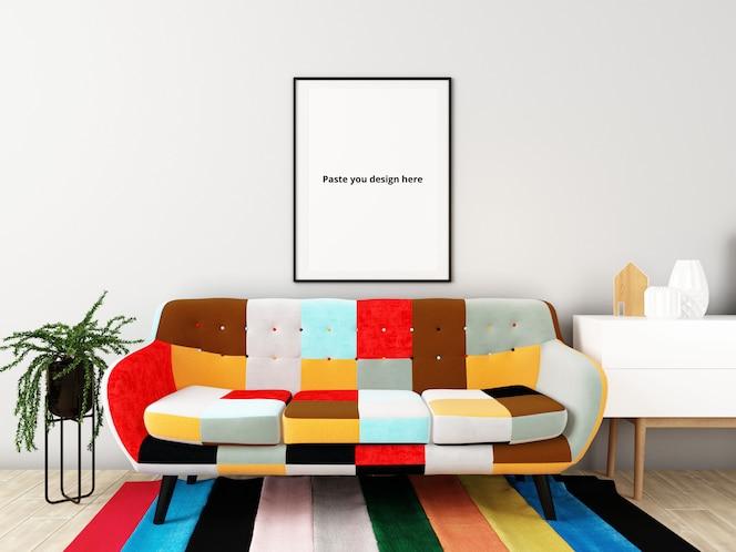 포스터 모형이있는 Colorfull 거실