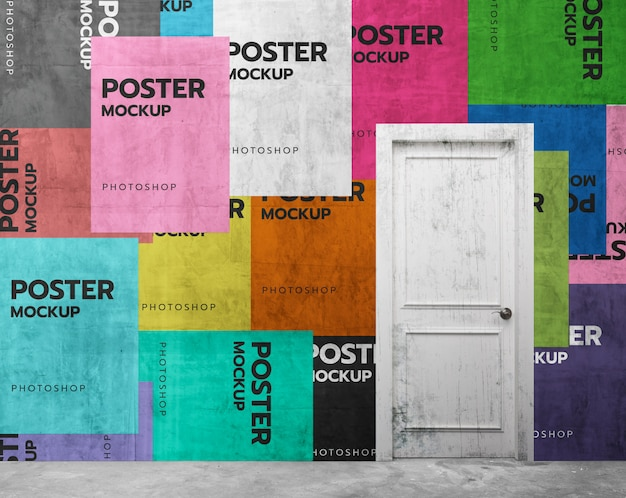 Colorfull poster collage in front door mockup