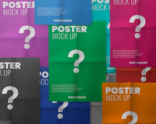 Colorfull poster fold mockup