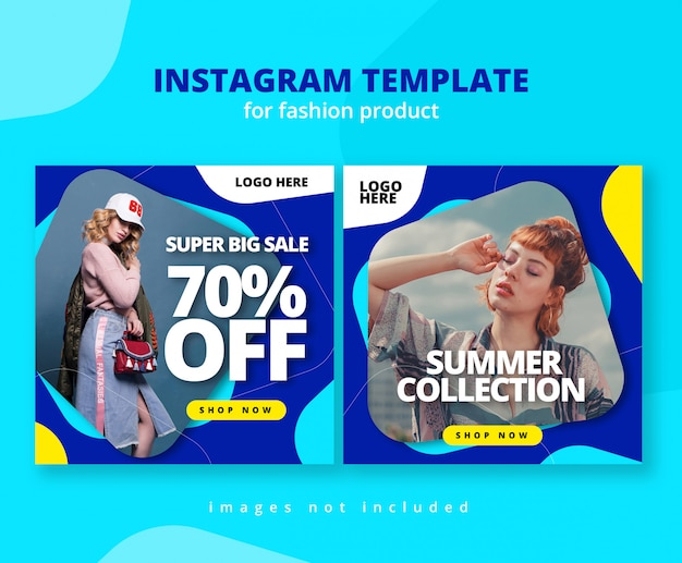 Colorfull rounded shape instagram feed template