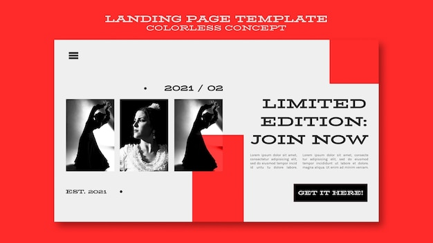 Colorless concept landing page
