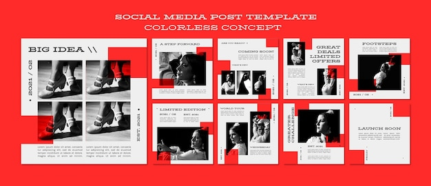 Colorless concept social media post